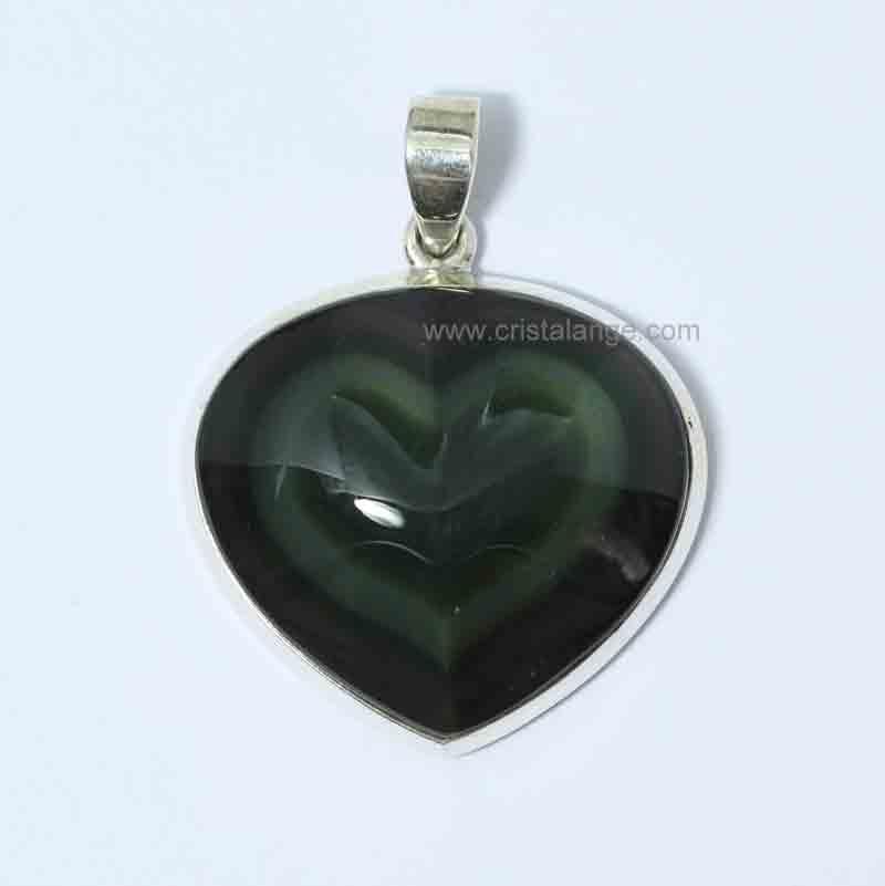 Pendentif Coeur Obsidienne Oeil C 233 Leste Ghania La Plus