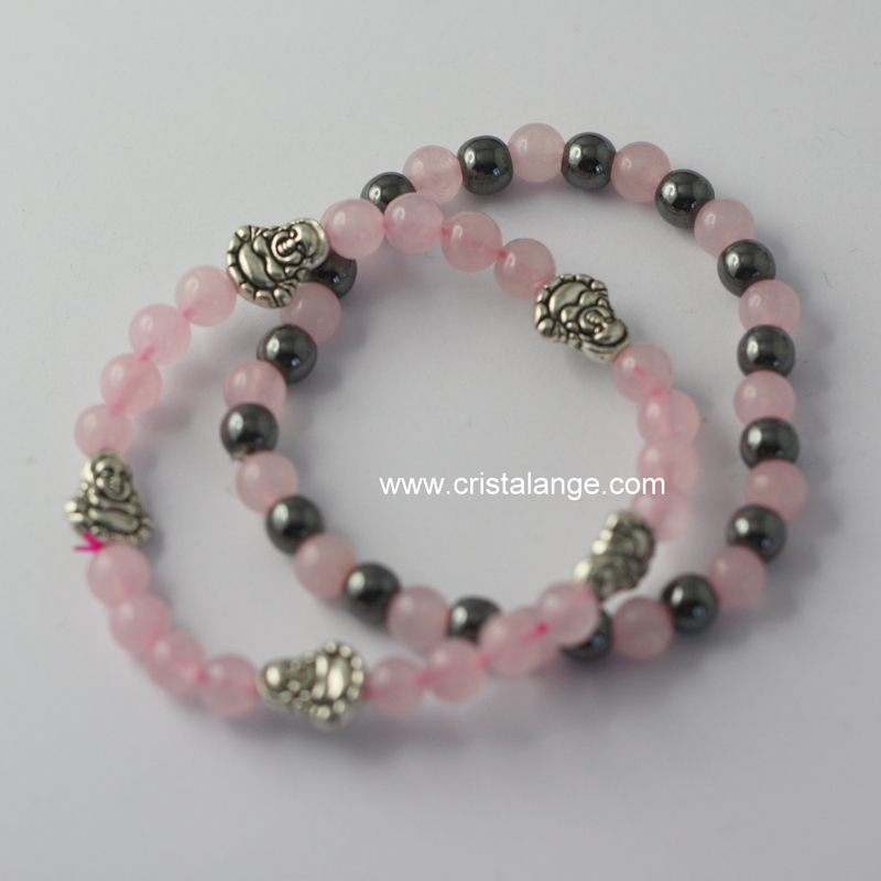 Set Of 2 Hemae And Rose Quartz Bracelets With Silvered 5 Metal Buddhas