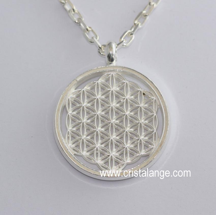 Pendentif Fleur de Vie artisanale argent noirci - bijoux spirituel et  géométrie sacrée par Cristalange 528da2a2ced