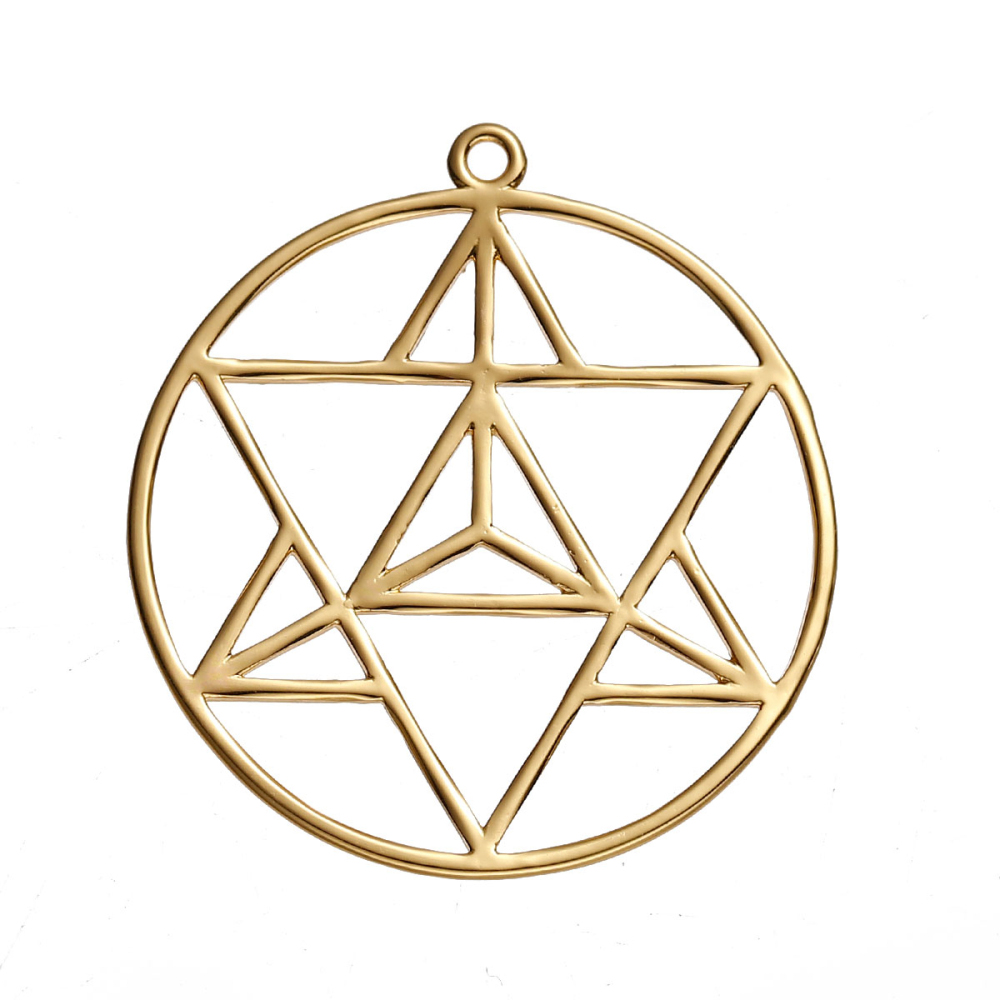 Sacred geometry merkaba pendant brass or silvered cristalange sacred geometry merkaba pendant brass or silvered mozeypictures Gallery