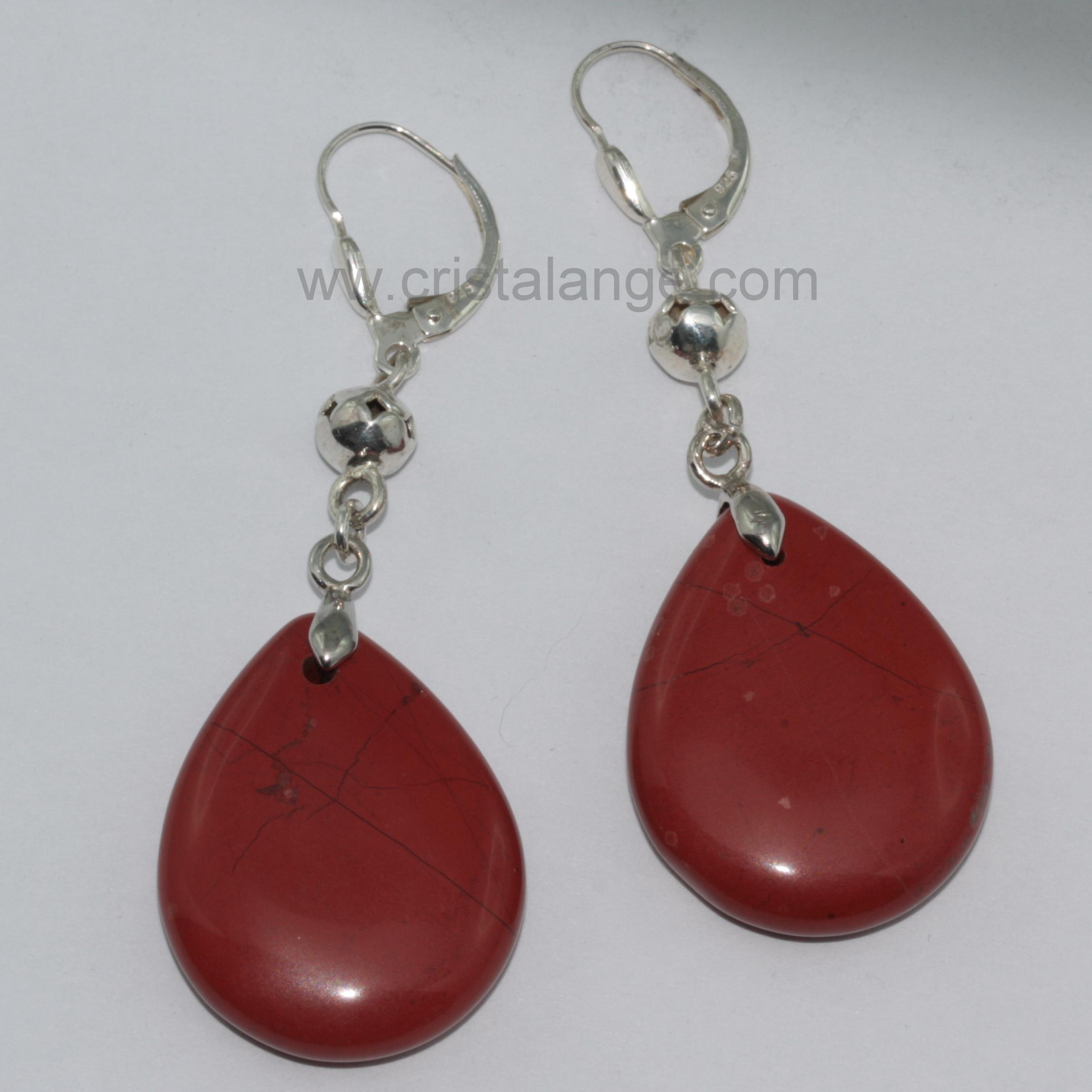 Boucles d'oreilles pierre rouge