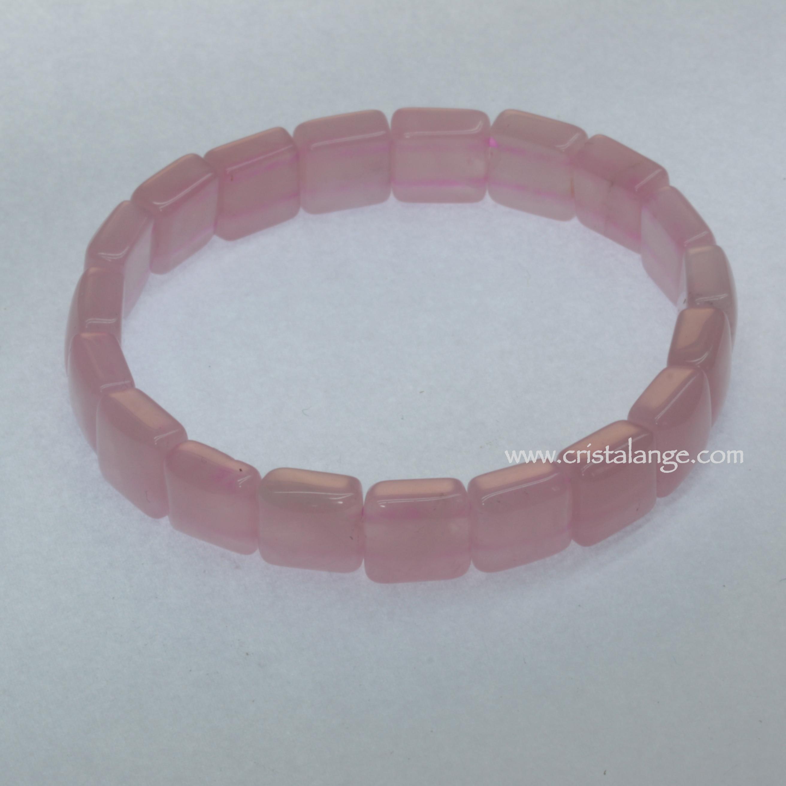 Bracelet carrés de quartz rose