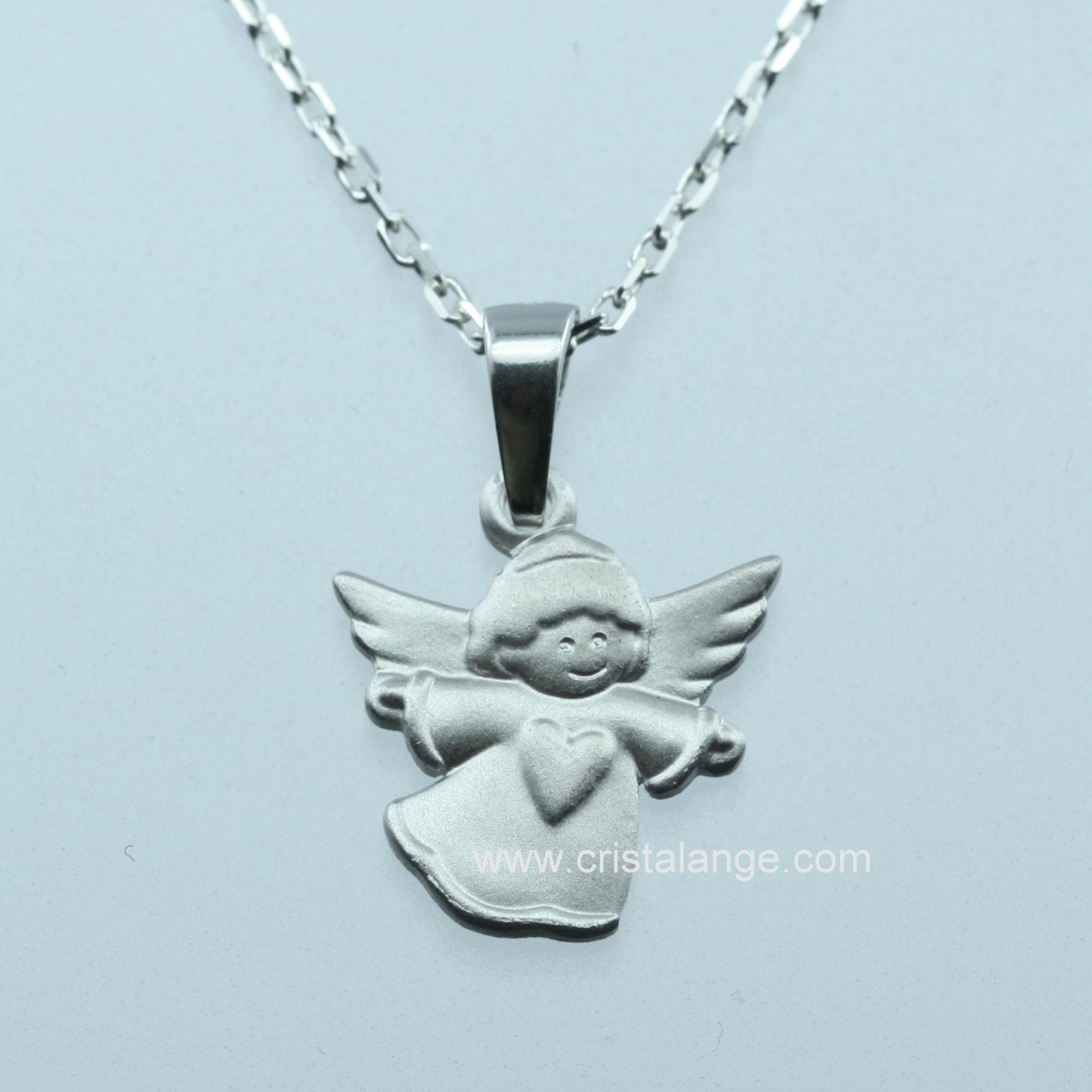Collier ange gardien en argent avec coeur - bijoux Cristalange, le ... 5f814cdb56b