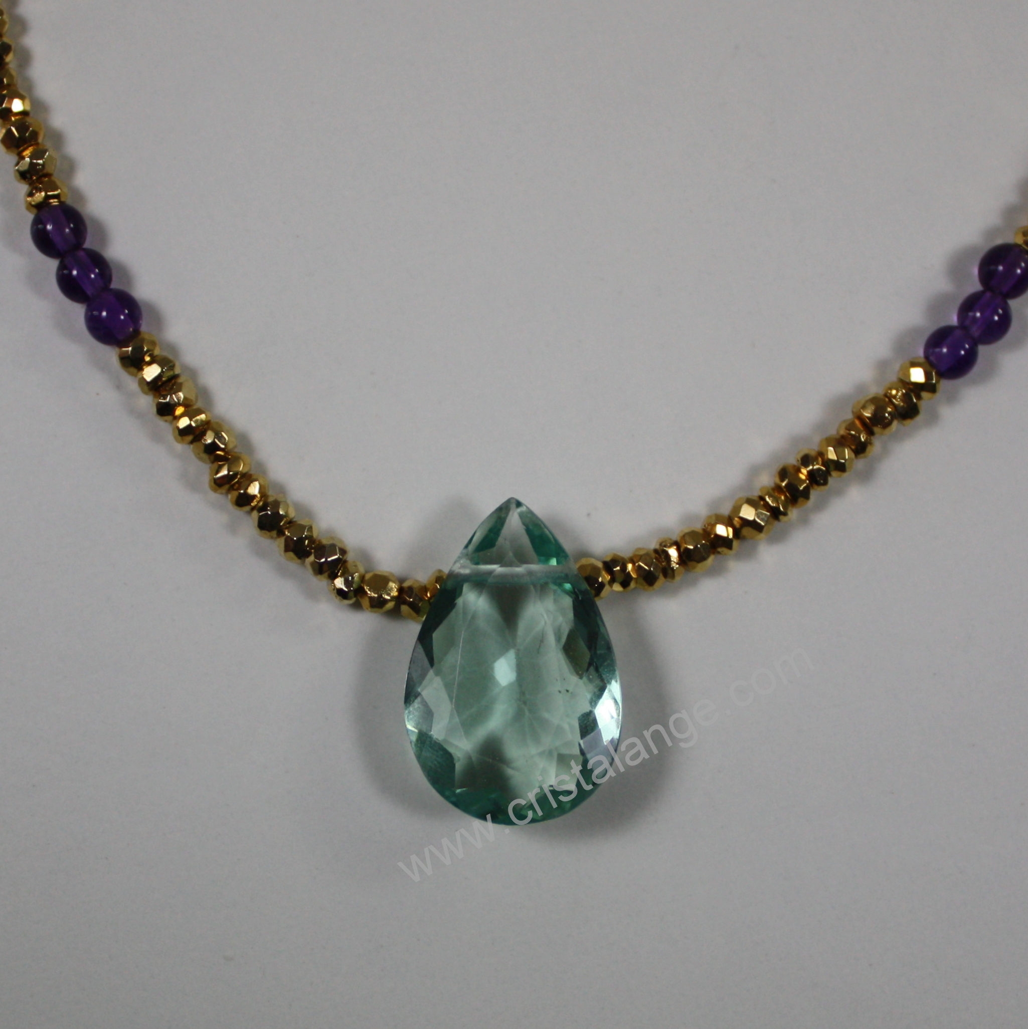 gemstone necklace pendant crystal necklaces healing raw point il p rainbow fluorite fullxfull