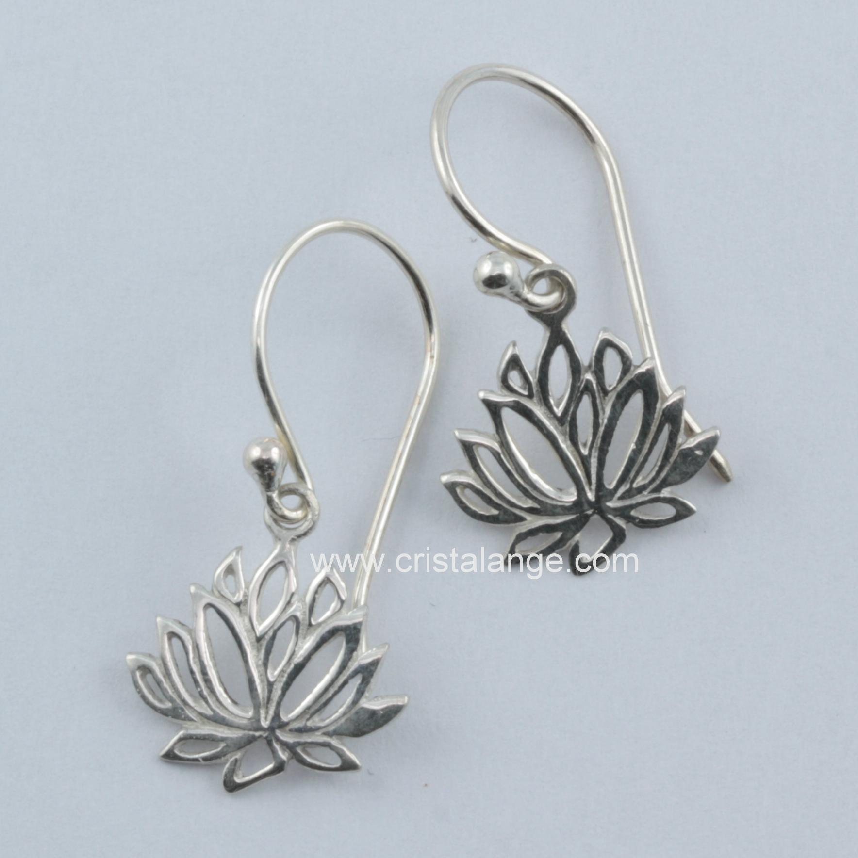 Mini lotus flower silver earrings spiritual jewelry cristalange mini lotus flower silver earrings mightylinksfo