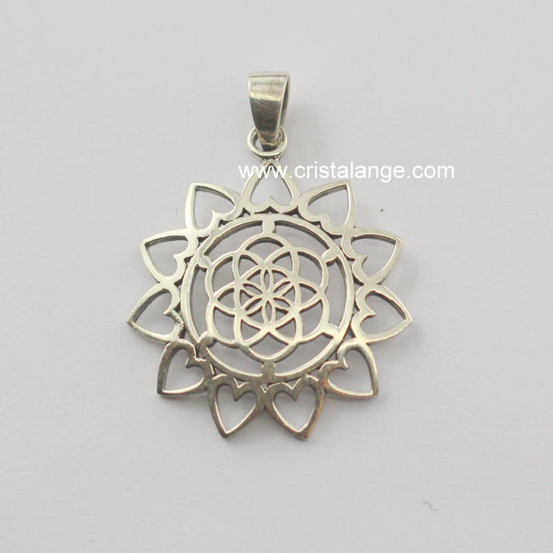 lotus pendant hand necklace silver sterling hamsa star