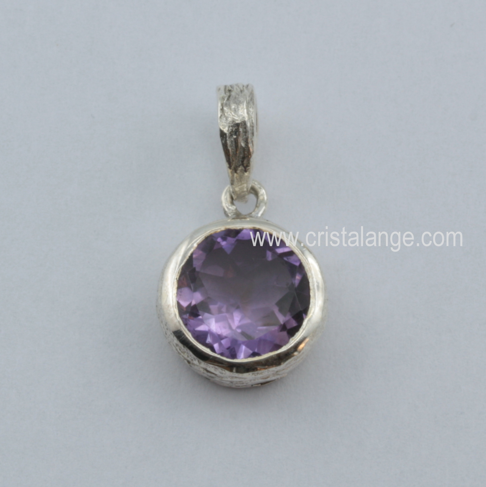 collier argent pierre violette