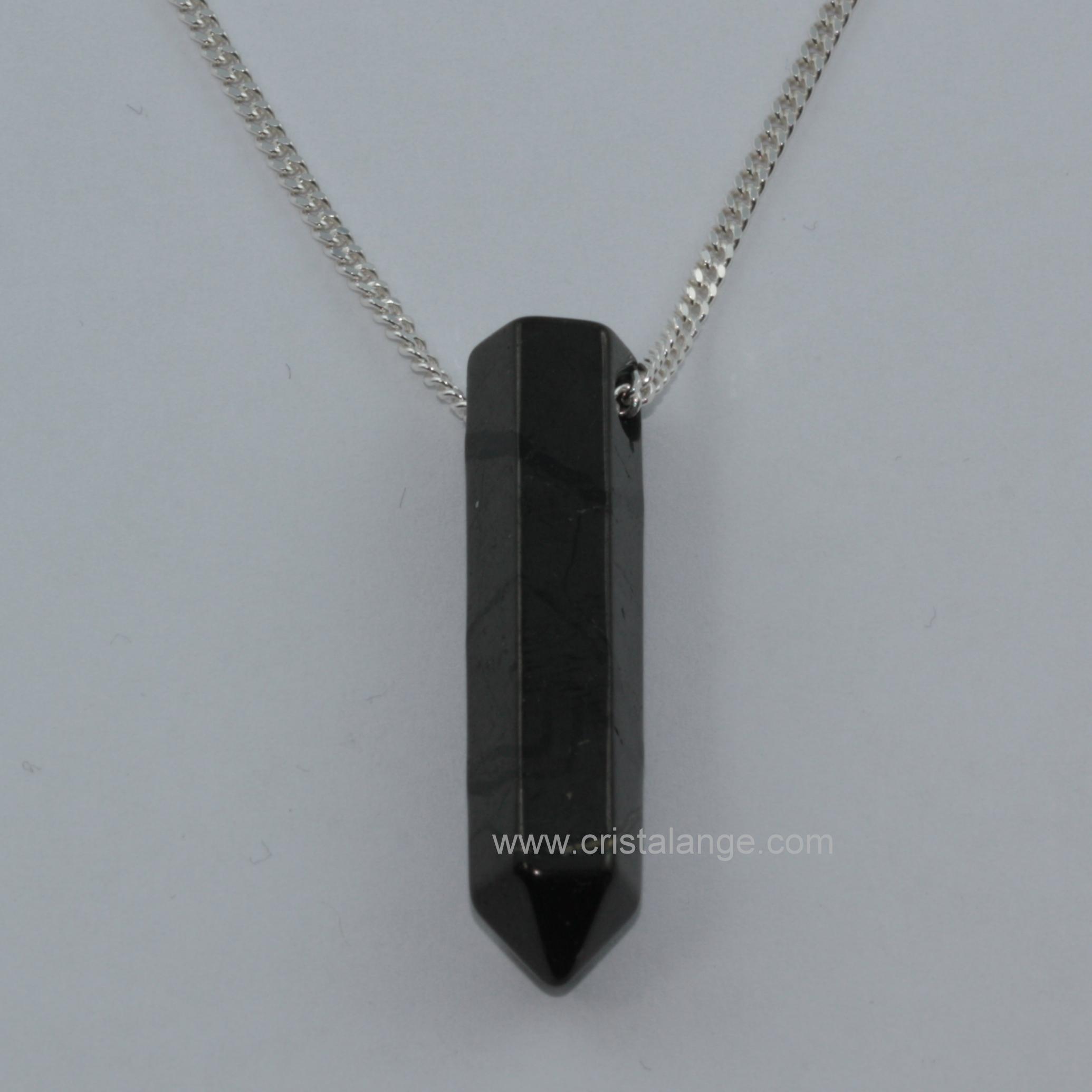 collier pierre noire homme